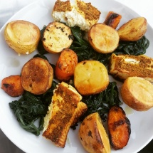 Fried Harissa cheese with spinach and potatoes