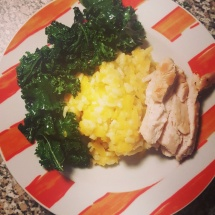 Pumpkin risotto with chicken and kale